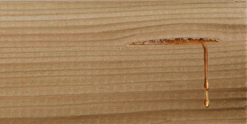 Resin comes out the surface of the timber